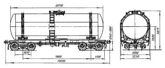 Устройство восьмиосной и четырехосной цистерны для нефтепродуктов